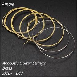 Акустическая гитара amola Струны Набор Латунь для деревянных аксессуары для гитары 010-047 супер легкие Музыкальные инструменты 1st-6th AMN10