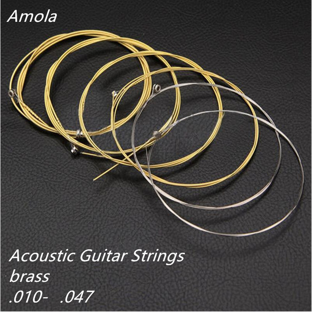AMOLA  Acoustic Guitar Strings Set Brass For Wooden Guitarra Accessories  010-047 Super Light  Musical Instruments 1st-6th AMN10