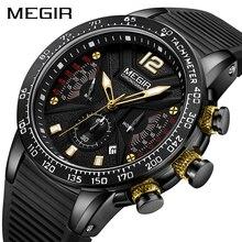 رجال كبار الساعات العلامة التجارية الفاخرة MEGIR ساعة رياضية للرجال كرونوغراف للماء المعصم ساعة Reloj Hombre Horloges Mannen