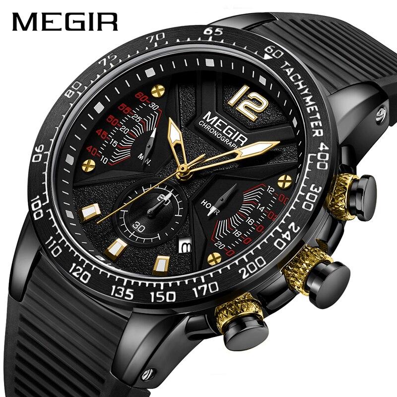 Mens Watches Top Brand Luxury MEGIR Sports Watch For Men Chronograph Waterproof Wristwatches Hour Reloj Hombre Horloges Mannen