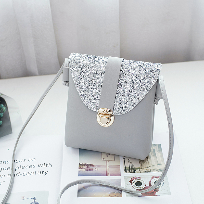 women small bling bling shoulder bag lady's mini cute solid color Glossy handbag cover opening bag cross body bolsas feminina