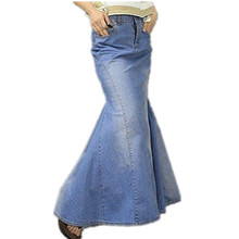 Free Shipping 2017 S-XL New Fashion Long Maxi Denim Blue Skirts For Women Floor length Mermaid Fish Tail Jeans Skirts With Slit