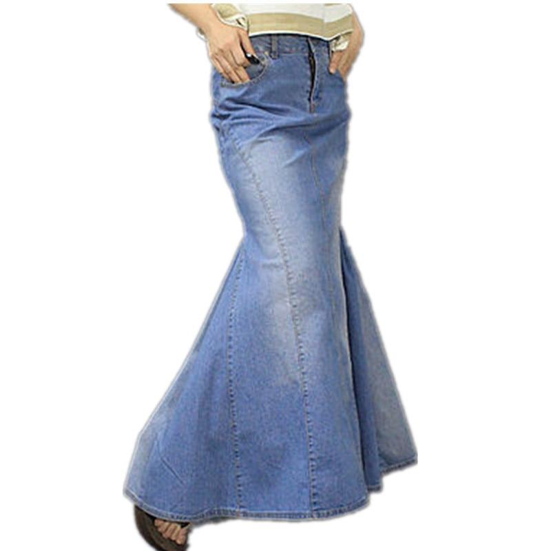 Transporti Falas 2019 S-XL Moda e Re Long Maxi Xhins funde blu për gratë Gjatësia e katit gjatësia e katit të peshkut Mermaid Xhinse me pantallona të gjera