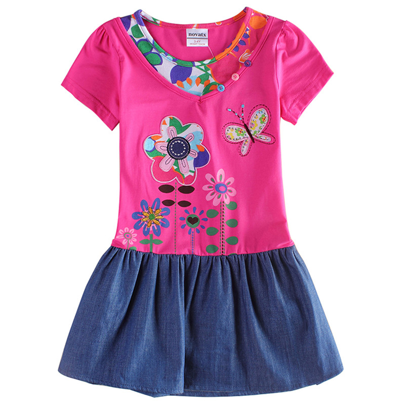 novatx H6063d retail kids short sleeves carton flower chlidren girls dress baby girl clothes 2017 new arrival summerhot top sale