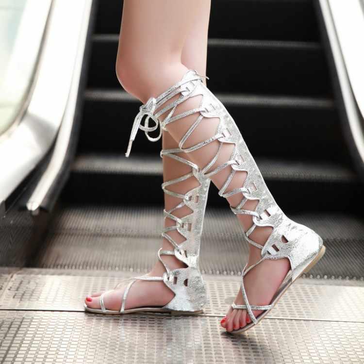 Bayan parti avrupa bayanlar gladyatör parti motosiklet Boots ayakkabı kadınlar seksi düz Hollow Lace Up bandaj uzun yaz çizmeler ayakkabı