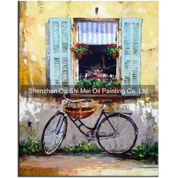 Hand Painted Yellow Wall Landscapes for Living Room Decor Abstract Window Bicycle Scene Oil Painting Handmade Wall Picture