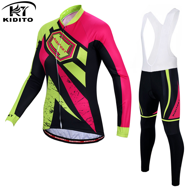 KIDITOKT Velvet-Green Spring Pro Women Cycling Jersey MTB Bike Wear Ropa Ciclismo Cycling Bicycle Clothes Cycling Clothing Sets