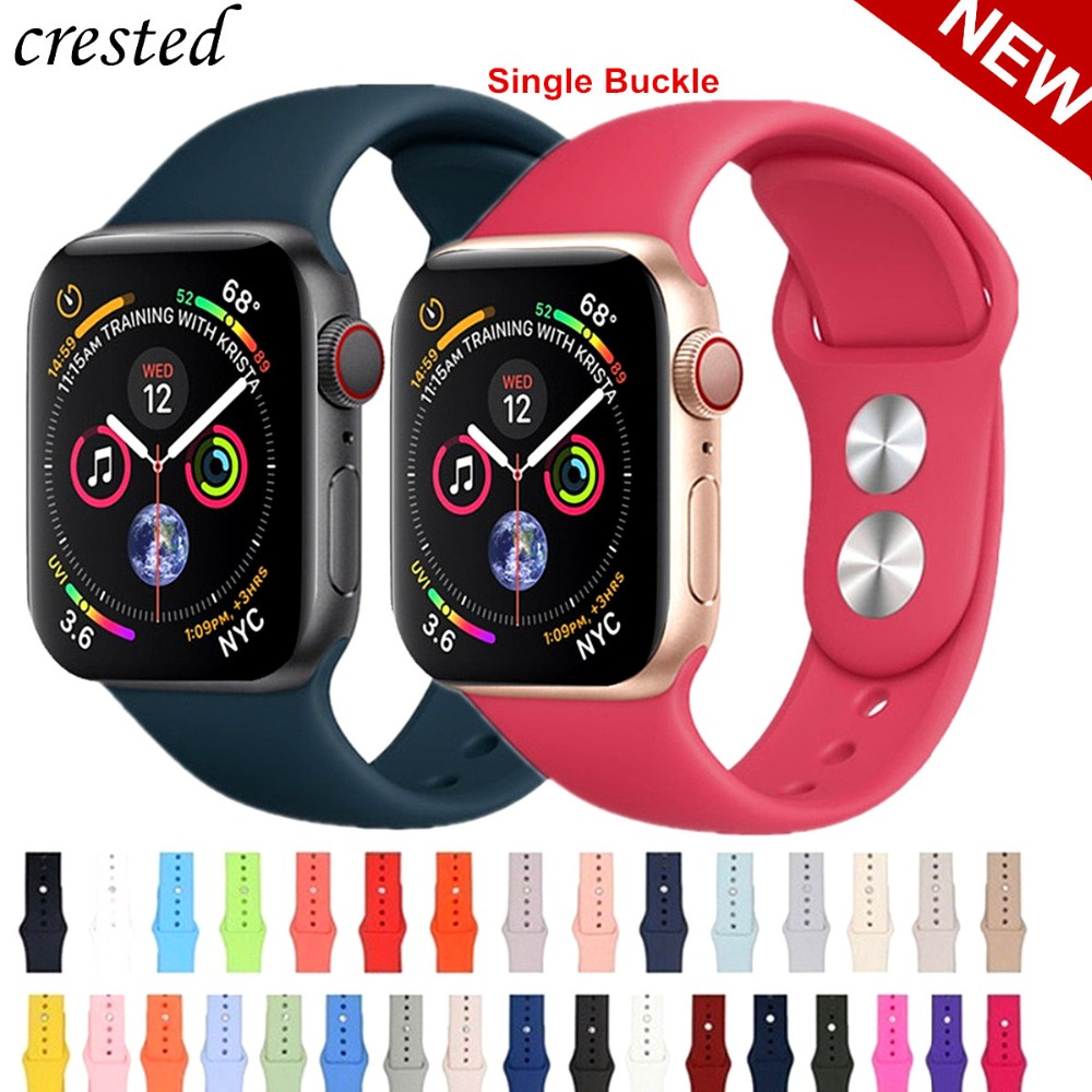 Silicone strap For Apple Watch band 42mm/38mm iwatch 4/3 Band 44mm/40mm Sport bracelet Rubber watchband for apple watch 4 3 2 1