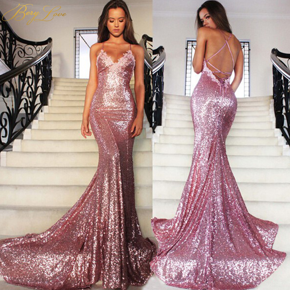 Us 90 54 35 Off Berylove Y Mermaid Pink Sequin Evening Dress 2019 Backless Styles Liques Lace Gown Formal Tail Party In