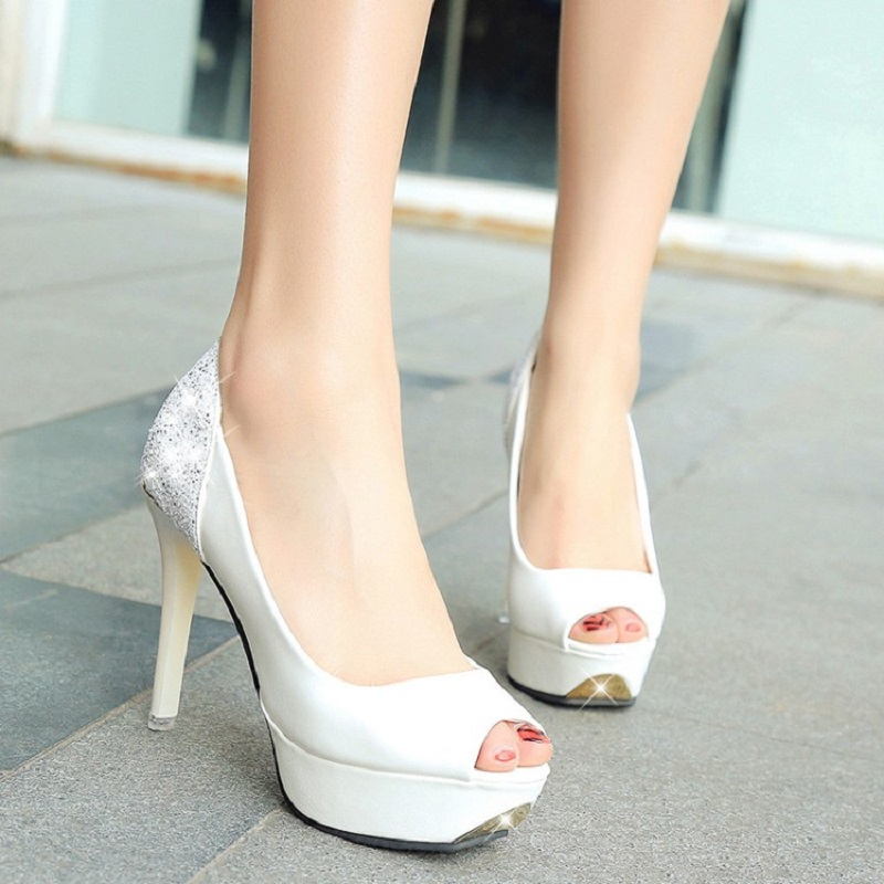 Luxury Rhinestone Women Pumps High Heels White Wedding Shoes OL Work Shoes for Women Sexy Summer