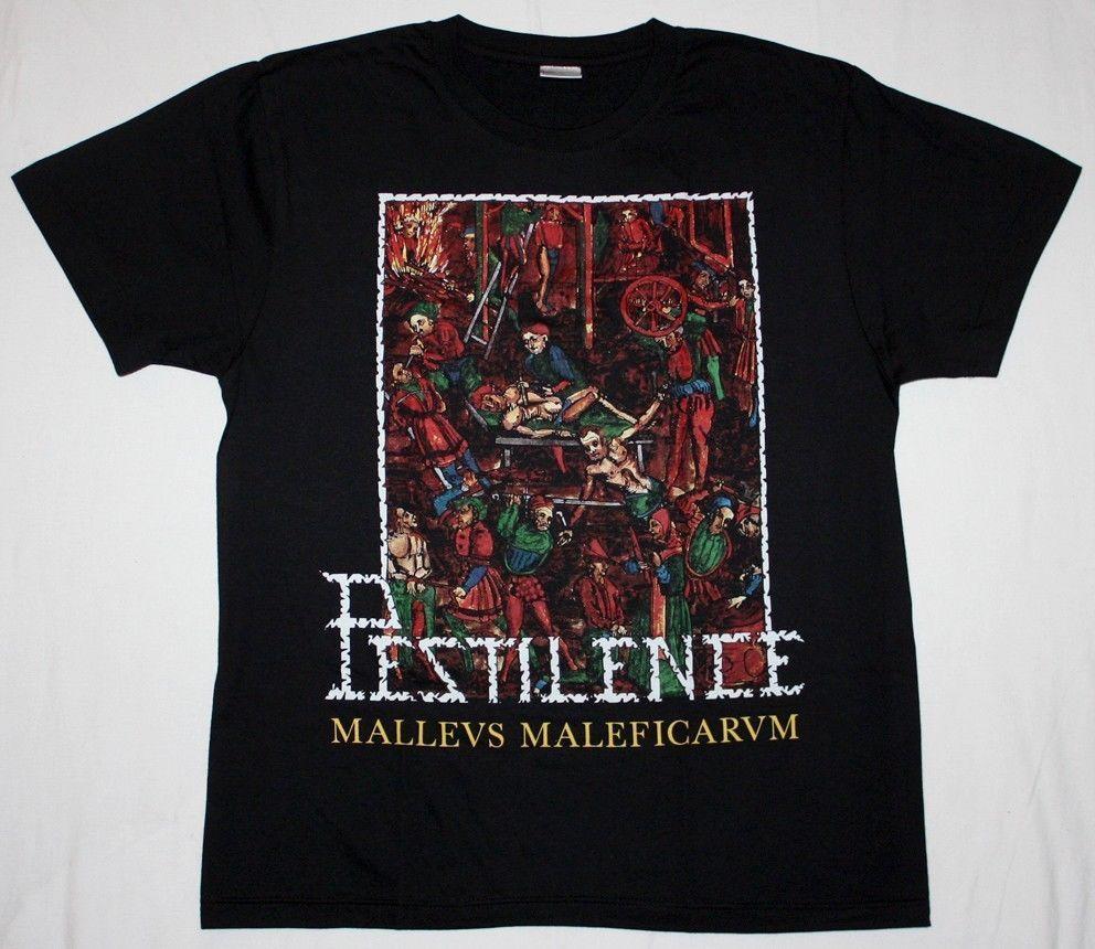 "<font><b>PESTILENCE</b></font> MALLEUS MALEFICARUM DEATH METAL ASPHYX GORGUTS NEW BLACK T-SHIRT ""Short Sleeve T Shirt Funny Print "" Top Tees"
