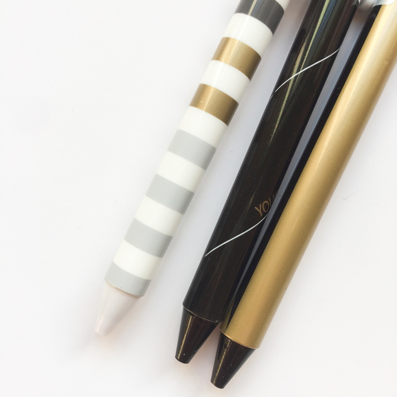 M17 3X Gold Pastel Wave Press Gel Pen Rollerball Pen Writing Signing Student Stationery School Office Supply 0.5mm Black
