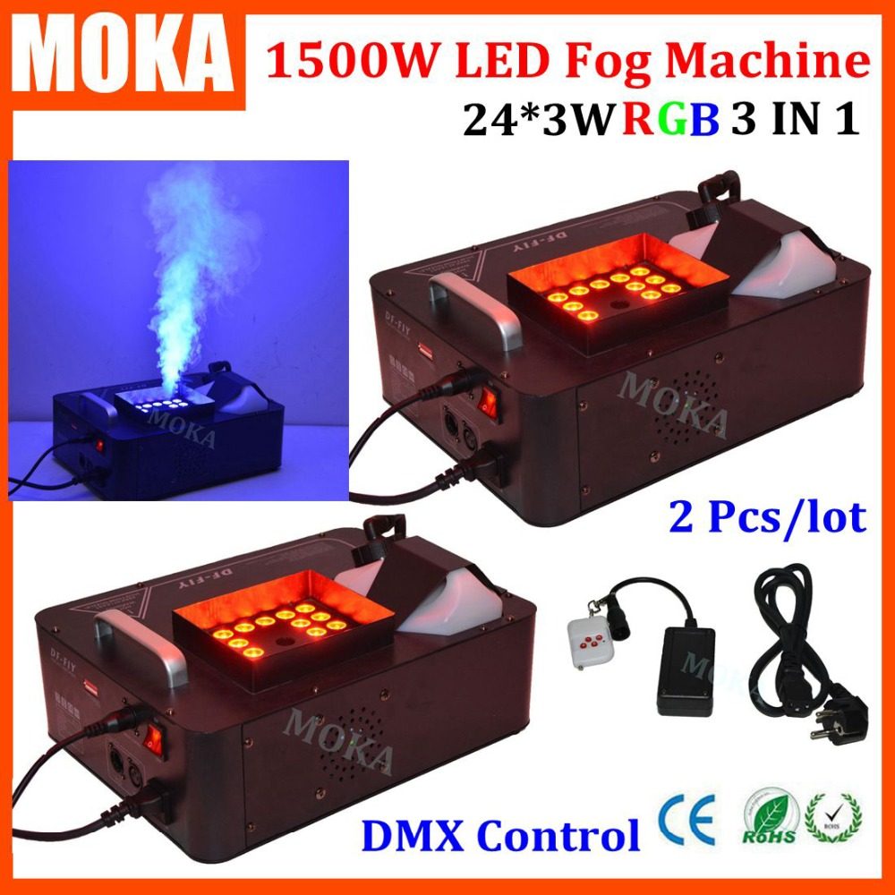 2 Pcs/lot 24pcs*3W RGB CO2 Blast Fog Machine 1500W DMX Led Effect Fogger Vertical Smoke Machine for Halloween decorations