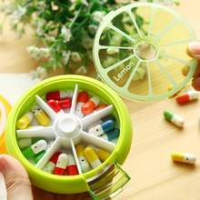 7 Days Weekly Rotating Pill Box Travel Pill Case Medicine Box Outdoor Orange Shape Splitters Box 3 Colors Pill Case Organizer(China)