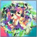 100 cm * 100 cm 100% Seda de la Tela Cruzada Nacional Viento Pintura Al Óleo del Árbol de la Hoja Impresa de Las Mujeres Pañuelos de Seda Cuadrados Grandes chales