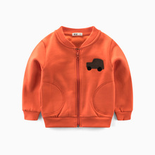 VIMIKID Boys Clothing Coat 2017 Autumn New Zipper Cartoon Solid Color Coat Cotton Long Sleeves O-neck Children's Clothes Jacket