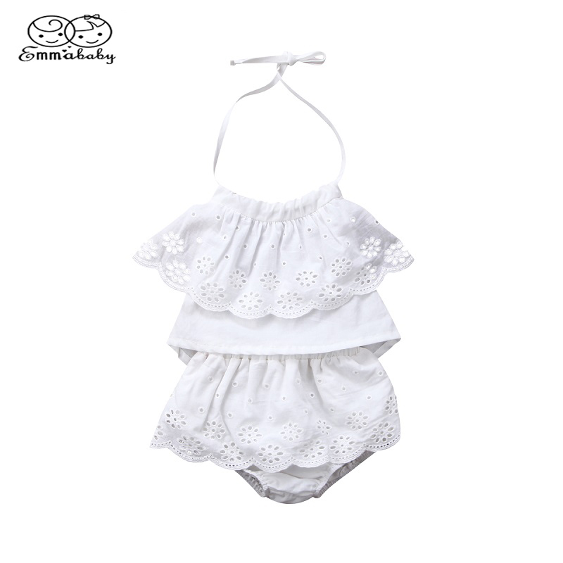 Emmababy Summer 0-24M Infant Clothes Baby Girl Lace Strap Ruffled Sleeveless Tops+Lace Shorts Pants Outfit Set Casual 2pcs ...