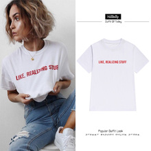 Hillbilly Hot T-shirts for Women Red Letters Like Realizing Stuff Casual Loose Plus Size T Shirts Round Neck Cotton Tees & Tops