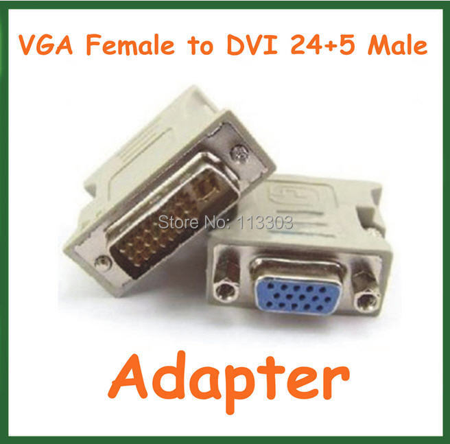 50pcs VGA Female to DVI 24+5 Pin Male Adapter to 15 Pin VGA Female Connector Extender Converter dvi 24 1 male to vga female adapter white 10 pcs