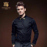 FANZHUAN Featured Brands Casual Shirts Long Sleeve striped Shirt Men Dress Shirts Camisa Chemise Homme Embroidery Shirts Black