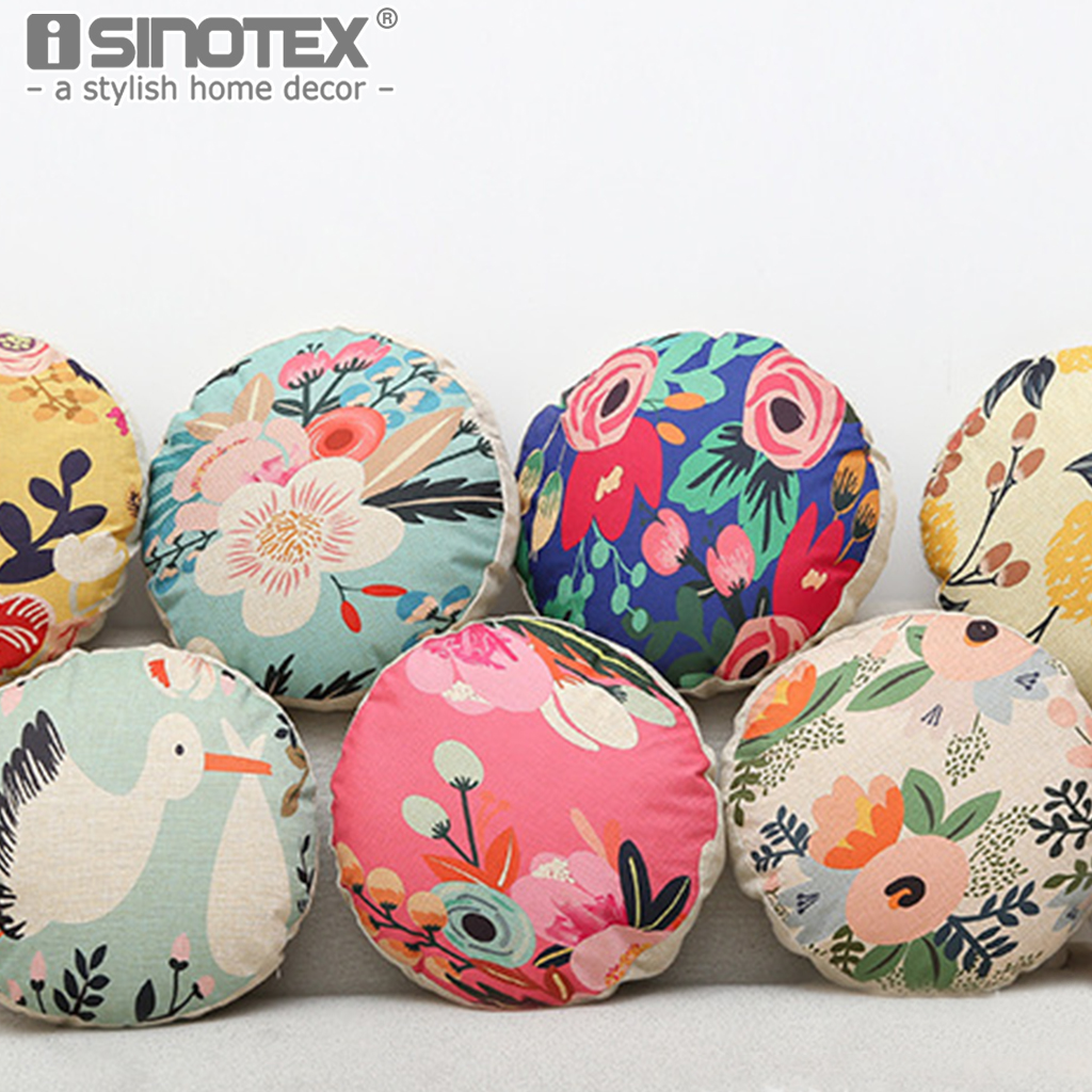 Creative Super Soft Cushion Floral Chinese Style Round Pillow Thicken Pillow Enlarge Students Office Nap Chair Cushion 42*42cm
