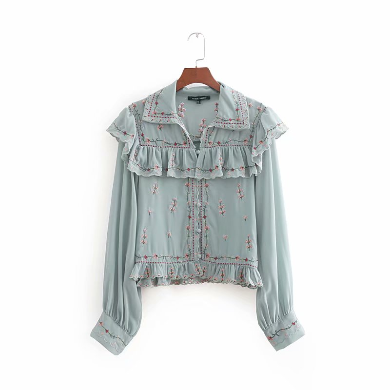 2018 Women High Street Elegant Laminated Ruffles Flower Embroidery Chiffon Blouse Ladies Shirt Chic Femininas Blusas Tops LS2500