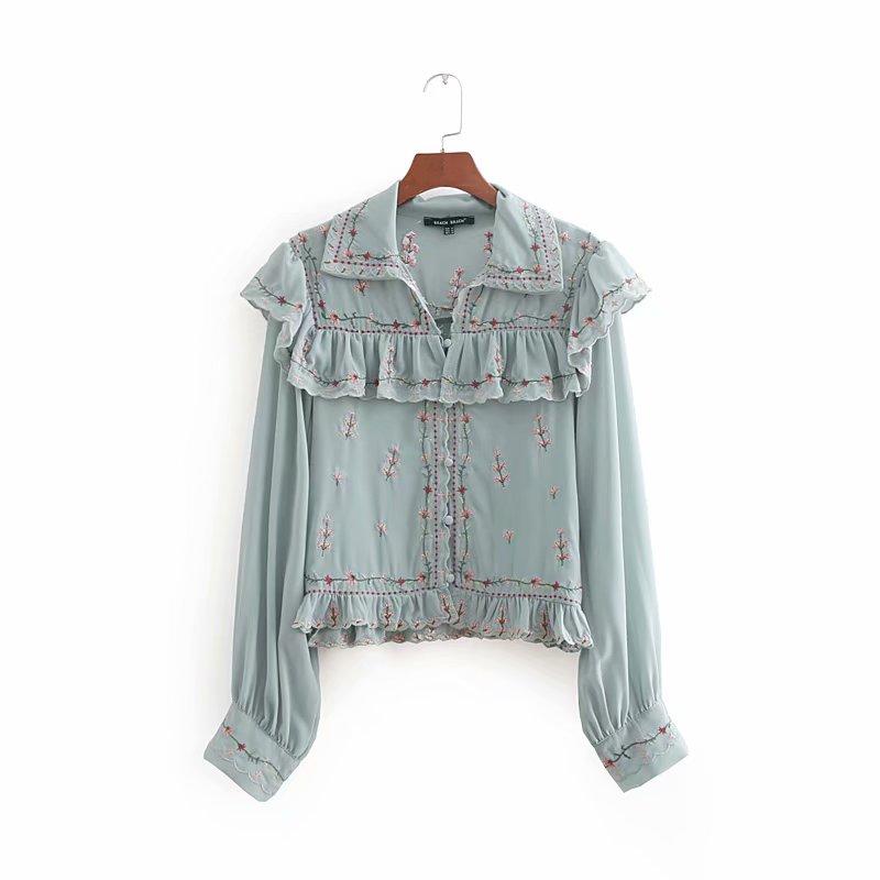 2018 Women High Street Elegant Laminated Ruffles Flower Embroidery Chiffon Blouse Ladies Shirt Chic Femininas Blusas Tops LS2500
