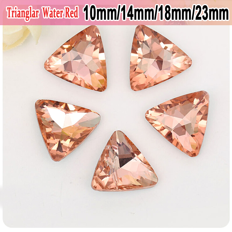 50pcs DIY Watch and headpiece High Grade Jewelry Accessories Water Red  Trianglar Pointed bottom Glass Crystal Rhinestones 1234eba315fe