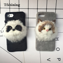 Tfshining Lovely Case Winter Plush Furry For iphone 7 8 Plus 6 6s X Cover Cute 3D Cat Hair Fur Accessory Phone Cases Coque