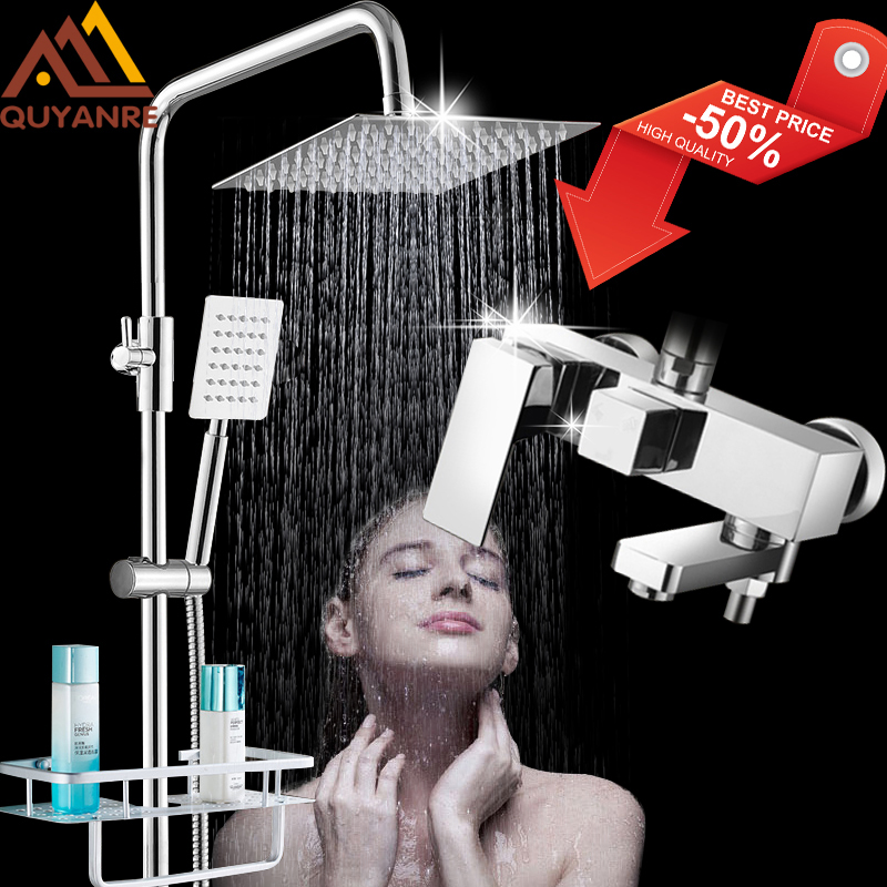 Quyanre Chrome Bathroom Shower Faucets Set Bathtub Shower Mixer Tap With Hook Commodity Shelf 3 way