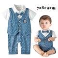 2016 новый мальчиков младенца rompers лук воротник с коротким рукавом полька точка bebes комбинезон один кусок детские party формальная одежда roupa infantis