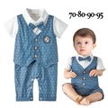 2016 new baby boys rompers bow collar short sleeve polka dot bebes jumpsuit one piece infant party formal clothes roupa infantis