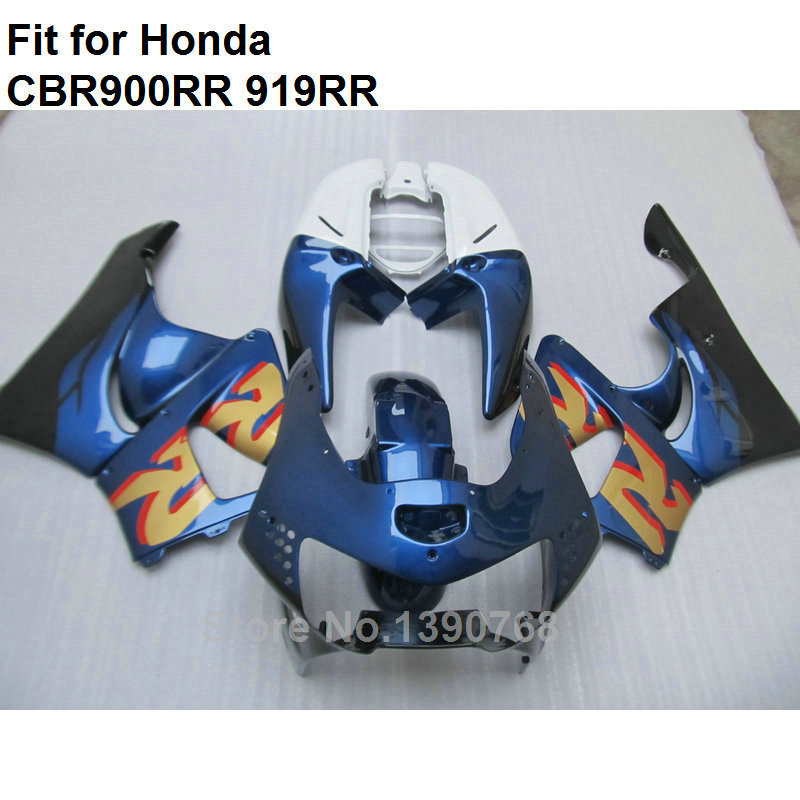 Carénages ABS de haute qualité pour Honda bleu foncé blanc CBR900RR 1998 1999 kit de carénage CBR 919RR CBR 900RR 98 99 HB23