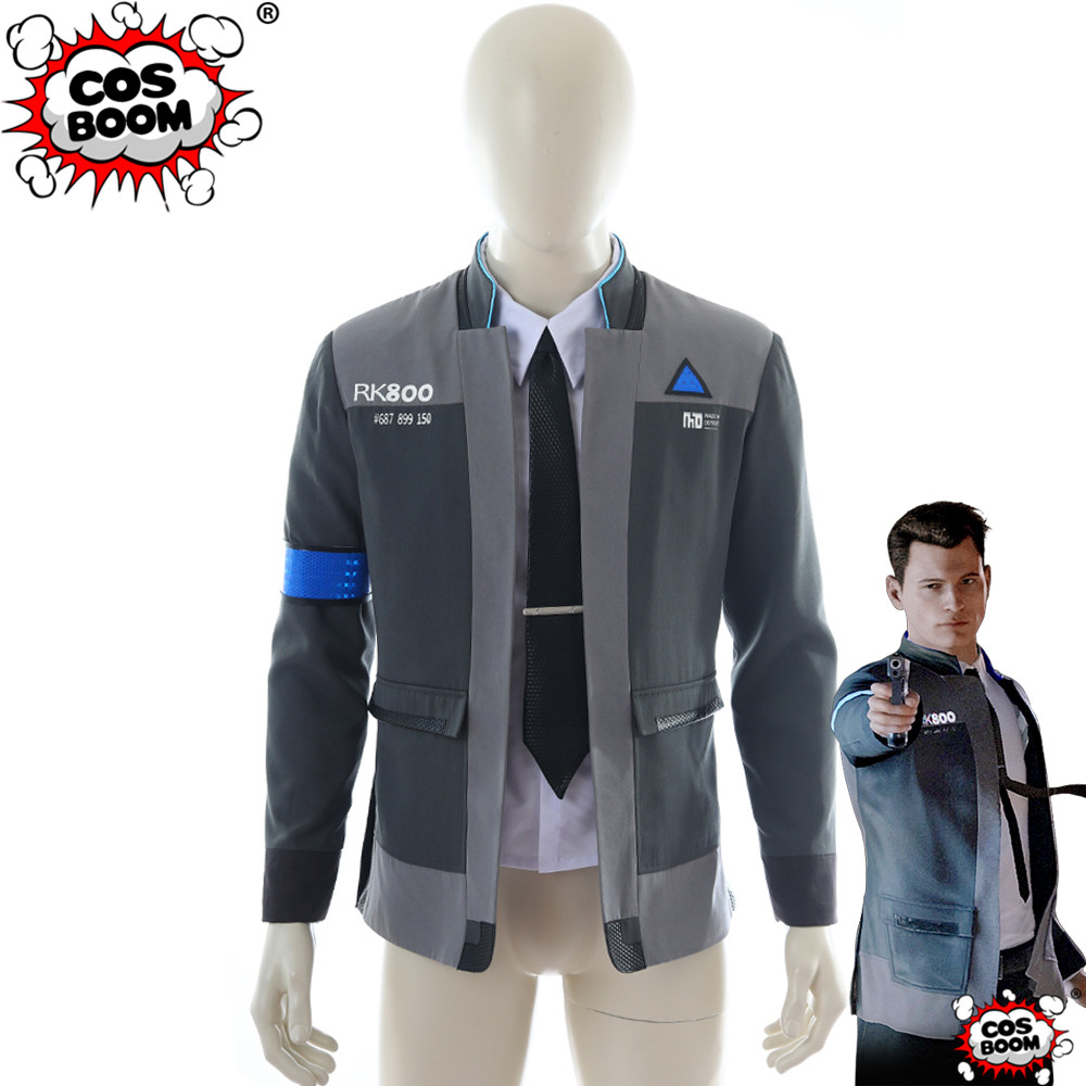 Become Human RK800 Connor Outfit Cosplay Mens Jacket Coat Suit Costume Detroit