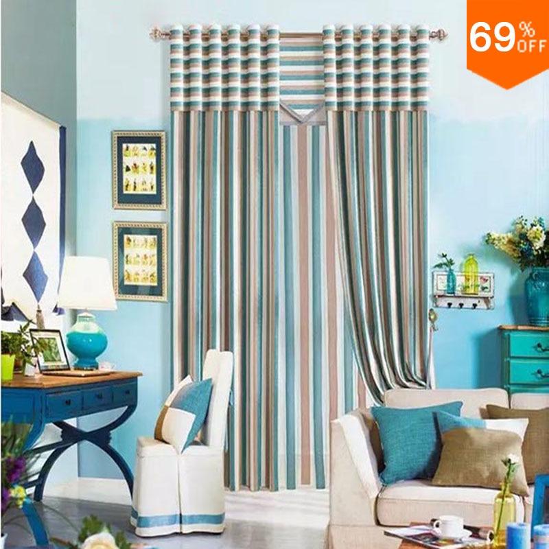 Azul new simples luxuoso Vara Vara Pendurar estilo Sala de estar formar uma linha de cortinas de Restaurante linellae lista linha Coluna cortina