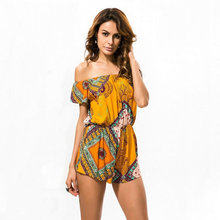 ZOGAA Women Boho Summer Rompers Elegant Off Shoulder Short Jumpsuit Wrapped Chest Lace-up Beach Playsuit Female Yellow