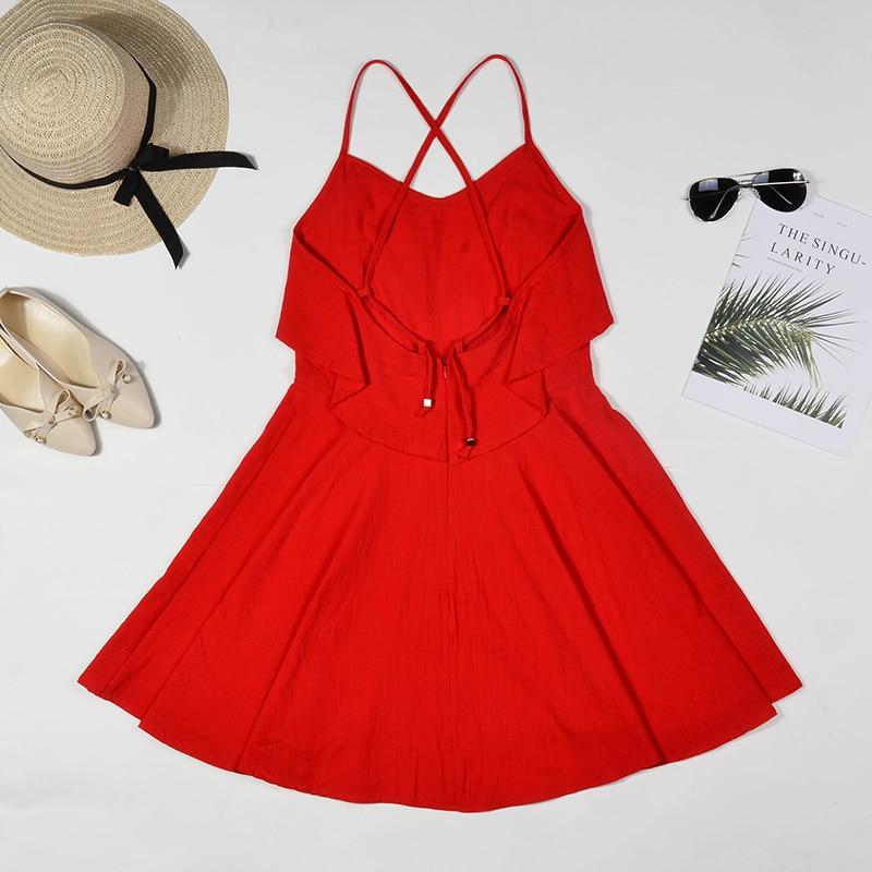 DeRuiLaDy 19 Women Summer Straps Beach Chiffon Dress Sexy V Neck Open Back Lace Up Ruffles Mini Dresses Casual Dress Vestidos 16
