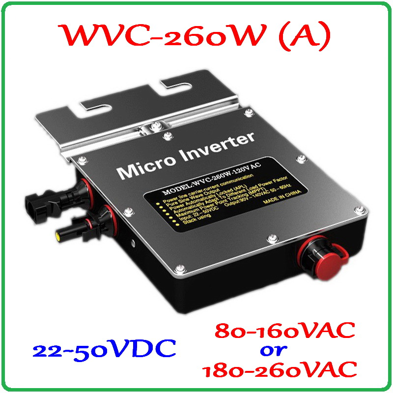 260W Grid Tie Inverter 260W On Grid Inverter, Solar Power Inverter Input DC22~50V Output, 6-grade MPPT for 200-300W 36V PV Panel solar micro inverters ip65 waterproof dc22 50v input to ac output 80 160v 180 260v 300w