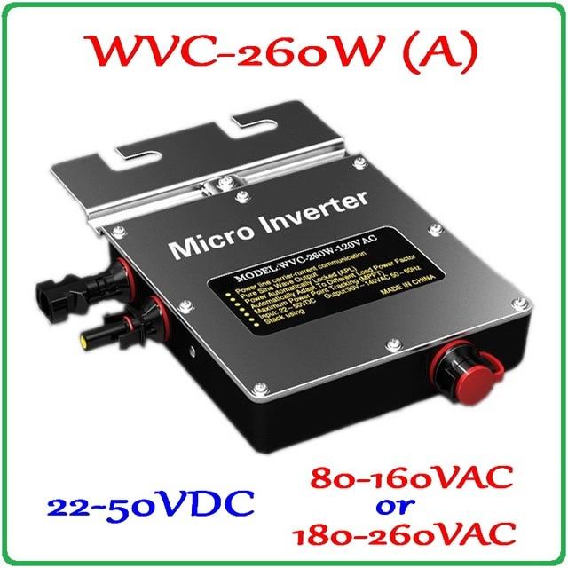 260W Grid Tie Inverter 260W On Grid Inverter, Solar Power Inverter Input DC22~50V Output, 6-grade MPPT for 200-300W 36V PV Panel