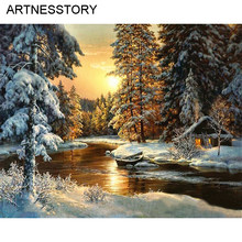 Village Snow DIY Painting By Numbers Frameless Canvas Painting Home Wall Art Picture Coloring By Numbers for Home Decor 40x50cm(China)