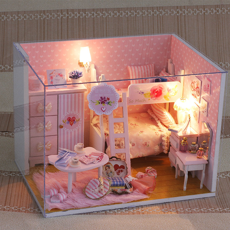 DIY Doll House Miniatura With Furnitures Creative Handmade Gift 3D Wooden Dollhouse Building Model Toys Pink Girl Q010 #E