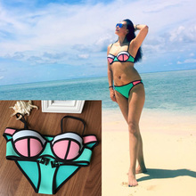 Women Bikini Triangle 100% Neoprene HIGH QUALITY Removable Push Up Padding Shoulder Belt