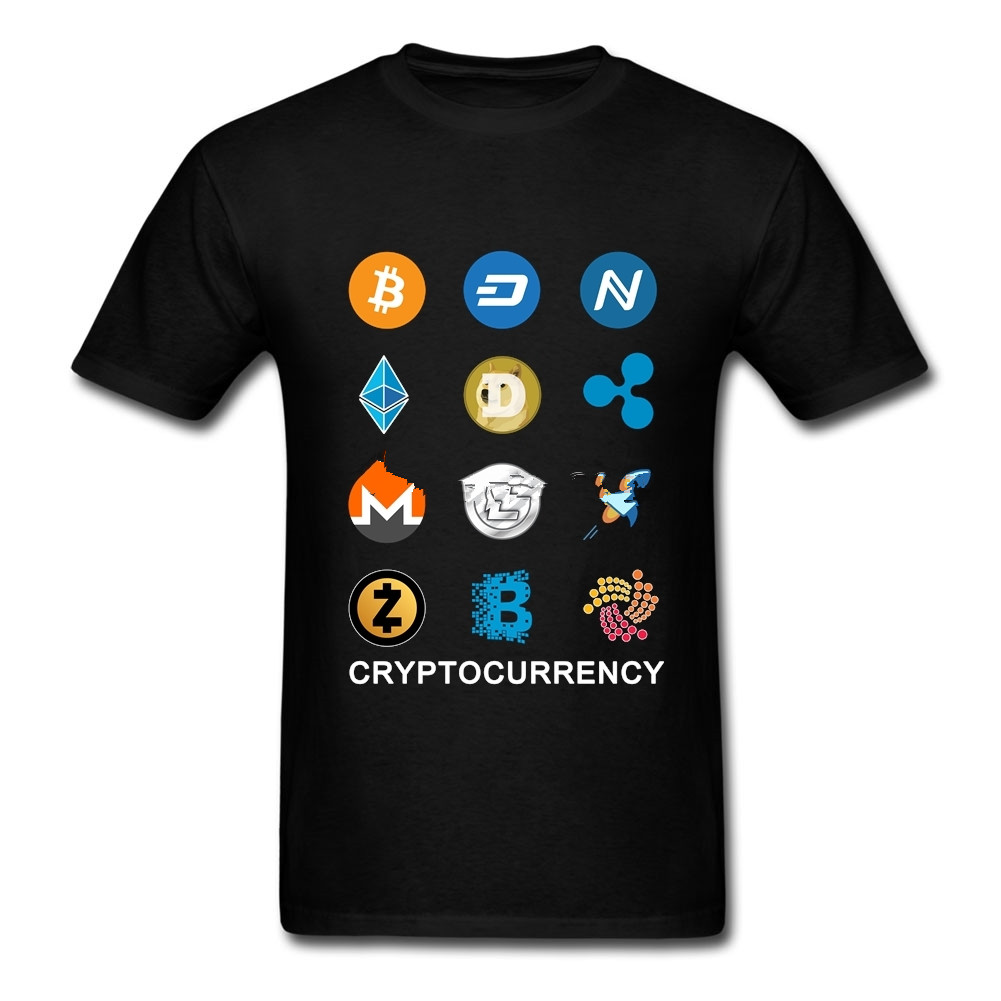 2018 Mans t shrit Cryptocurrency Iota Ehtereum Bitcoin Monero Litecoin Ripple Funny Custom Short Sleeve