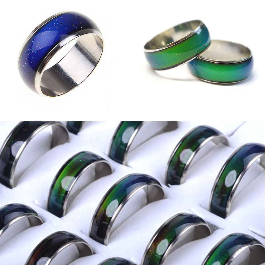20pcs/lot  Amazing Jewelery Change Color Emotion Feeling Mood Color Changeable Alloy Ring 16-20mm