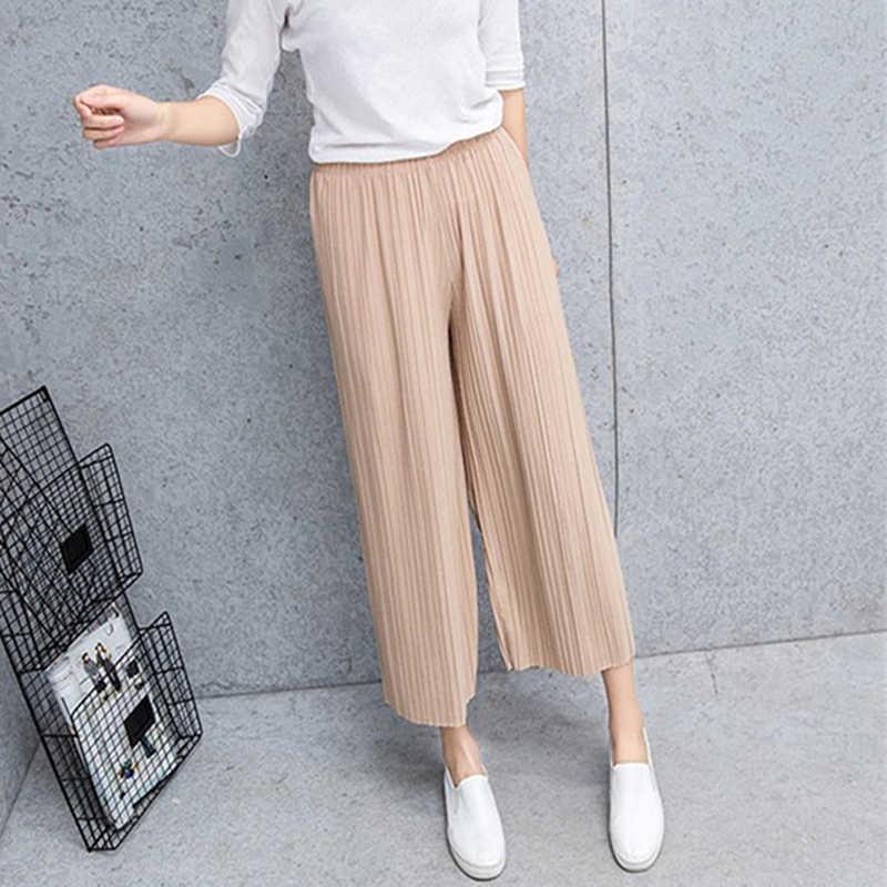 Lipit Chiffon Lebar Kaki Celana Perempuan Musim Panas 2019 Baru Korea Versi Calf-Length Celana High Waist Longgar MM celana