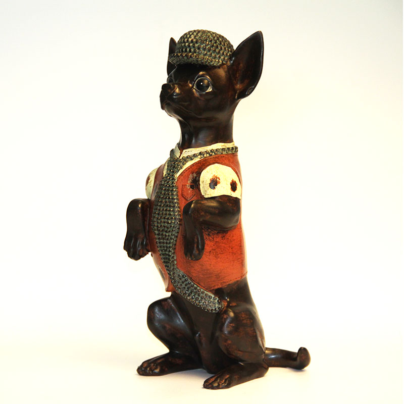 Distress Retro Glaze pryskyřice Ji Wawa Dog Brown Chihuahua Retro obývací pokoj Dětský pokoj ornament dekorace obchodní dárek
