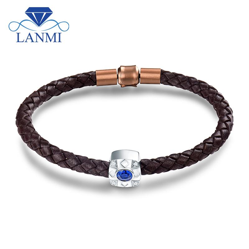 df1d639016bb LANMI sólido 18Kt oro blanco zafiro azul Natural hombres pulsera ...