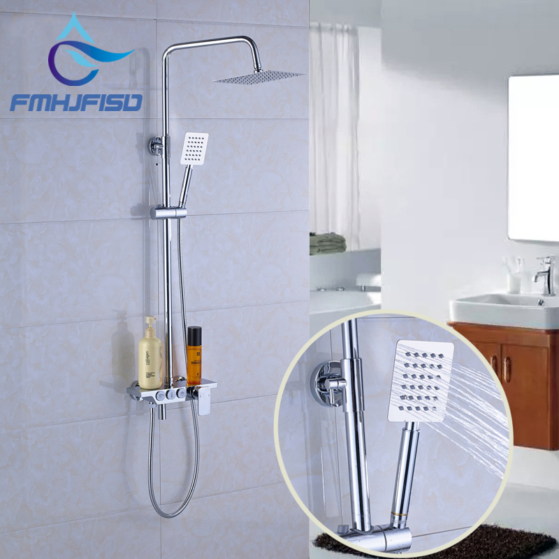Retail Best Quality Best Price Chrome Shower Faucet with 8 Square Shower Head Mixer Taps