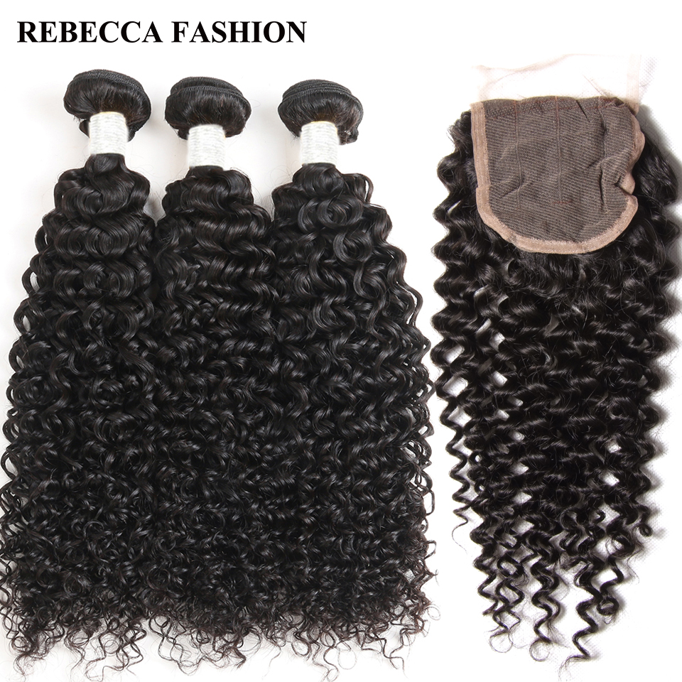 Rebecca Remy Peruvian Curly Hair Weave 3 bundles with Closure Salon Human Hair Bundles with 4x4