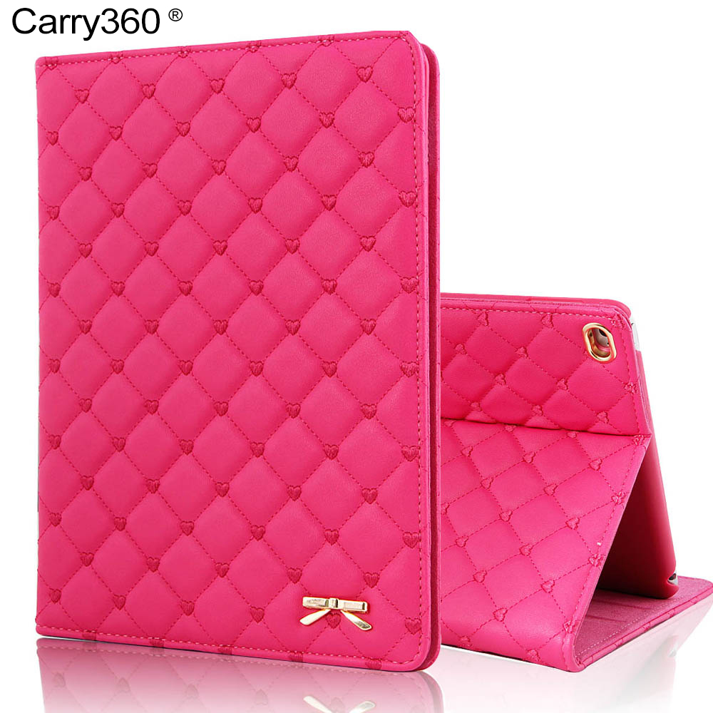 Carry360 Luxury Fashion Bowknot PU Leather Case for iPad Air 2 Case Stand Cover for Apple iPad Mini 1 2 3 4 for iPad 2 3 4 Air 1 eyw for apple ipad air2 ipad 6 luxury crocodile pattern 360 rotation stand folio pu leather smart cover case for ipad air 2